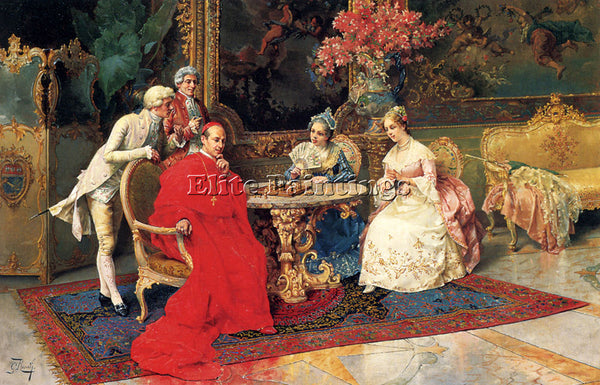 GIULIO ROSATI THE CHESS PLAYERS ARTIST PAINTING REPRODUCTION HANDMADE OIL CANVAS