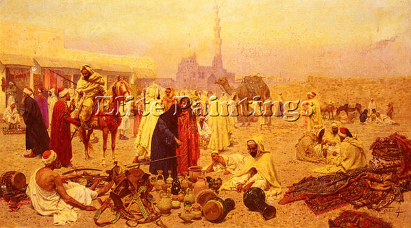 GIULIO ROSATI AN ARABIAN MARKET ARTIST PAINTING REPRODUCTION HANDMADE OIL CANVAS