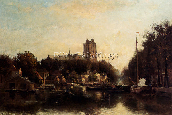 ROSSUM DU CHATTEL FREDERICUS JACOBUS VAN VIEW KLEINE HAVEN IN DORDRECHT PAINTING