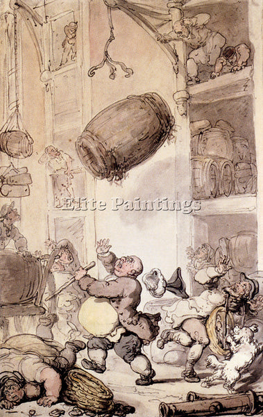 THOMAS ROWLANDSON A FALL IN BEER ARTIST PAINTING REPRODUCTION HANDMADE OIL REPRO
