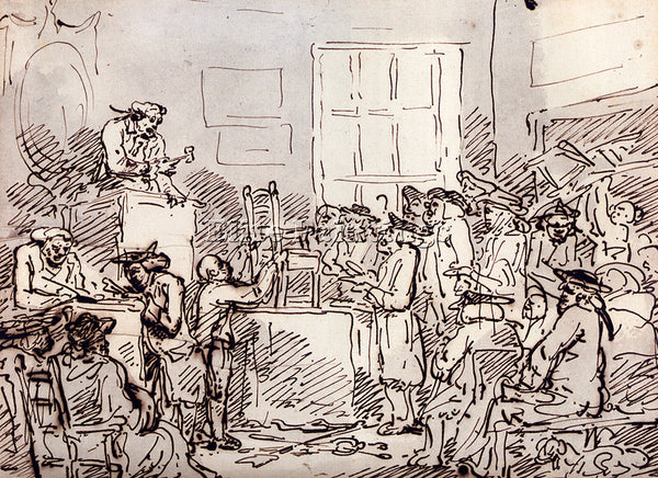 THOMAS ROWLANDSON A FURNITURE AUCTION ARTIST PAINTING REPRODUCTION HANDMADE OIL
