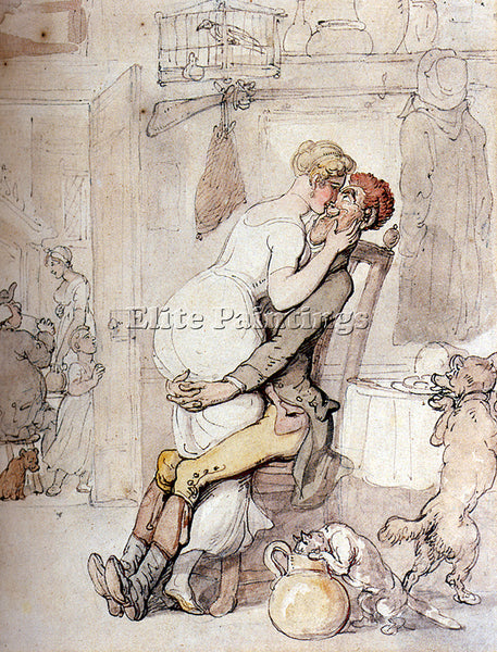 THOMAS ROWLANDSON A KISS IN THE KITCHEN ARTIST PAINTING REPRODUCTION HANDMADE