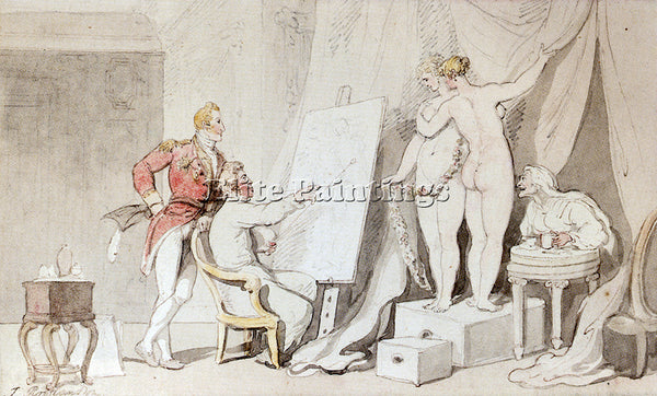 THOMAS ROWLANDSON A STUDY IN LIFE DRAWING ARTIST PAINTING REPRODUCTION HANDMADE