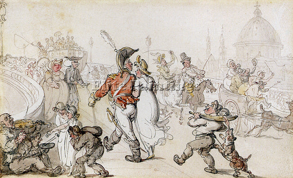 THOMAS ROWLANDSON ELEGANT COMPANY ON BLACKFRIARS BRIDGE ARTIST PAINTING HANDMADE