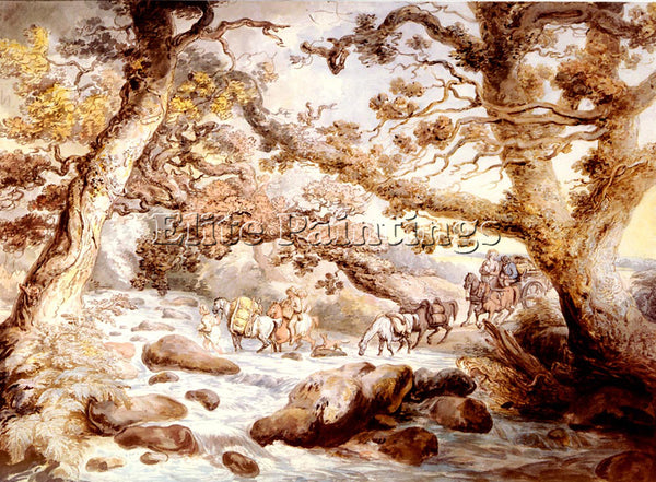 THOMAS ROWLANDSON FORDING THE RIVER CAMEL CORNWALL ARTIST PAINTING REPRODUCTION