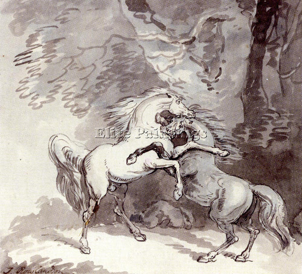 THOMAS ROWLANDSON HORSES FIGHTING ON A WOODLAND PATH ARTIST PAINTING HANDMADE