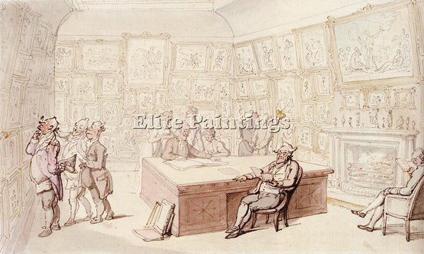 THOMAS ROWLANDSON MR MICHELLS PICTURE GALLERY AT GROVE HOUSE ENFIELD OIL CANVAS