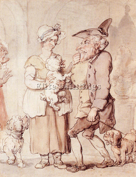 THOMAS ROWLANDSON THE SICK DOG ARTIST PAINTING REPRODUCTION HANDMADE OIL CANVAS