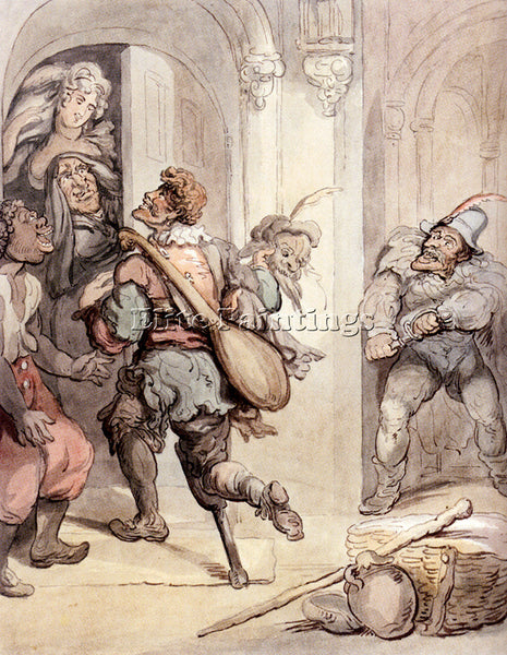 THOMAS ROWLANDSON TRAVELLING PLAYERS ARTIST PAINTING REPRODUCTION HANDMADE OIL