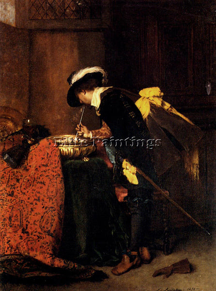 FERDINAND ROYBET A CAVALIER LIGHTING A PIPE ARTIST PAINTING HANDMADE OIL CANVAS