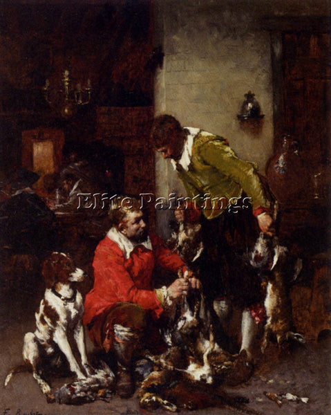 FERDINAND ROYBET VICTOR LEON RETURN FROM THE SHOOT ARTIST PAINTING REPRODUCTION