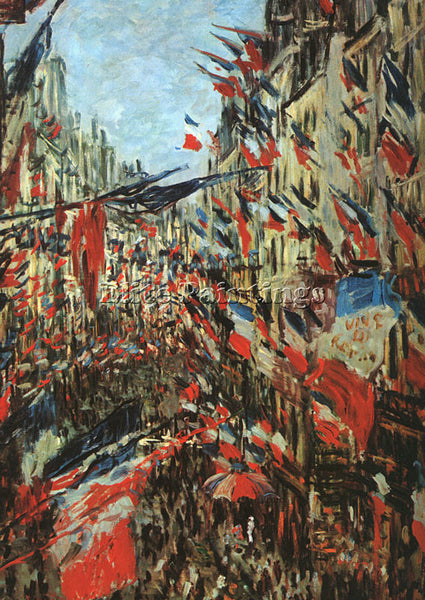 CLAUDE MONET RUE MONTARGUEIL WITH FLAGS ARTIST PAINTING REPRODUCTION HANDMADE