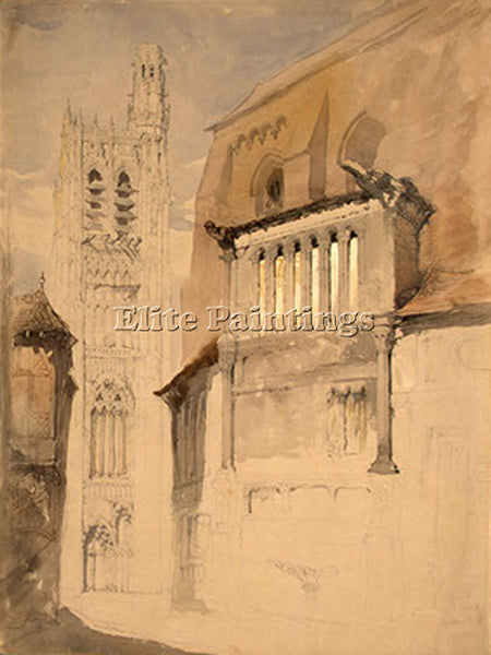 JOHN RUSKIN TOWER OF THE CATHEDRAL AT SENS C 1845 ARTIST PAINTING REPRODUCTION