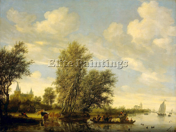 SALOMON VAN RUYSDAEL 49FERRY ARTIST PAINTING REPRODUCTION HANDMADE CANVAS REPRO