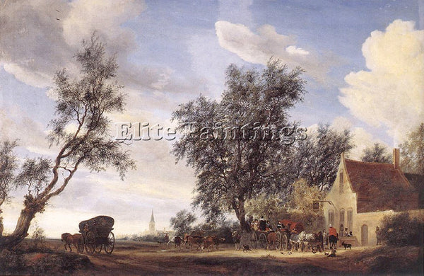 SALOMON VAN RUYSDAEL 49HALT ARTIST PAINTING REPRODUCTION HANDMADE OIL CANVAS ART