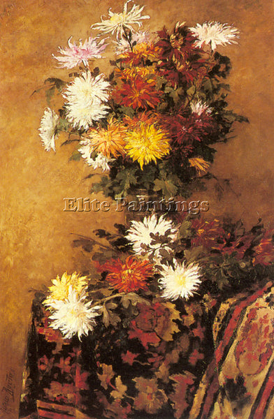 BELGIAN RUYTINX ALFRED A VASE OF CHRYSANTHEMUMS ARTIST PAINTING REPRODUCTION OIL