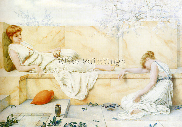 HENRY RYLAND TWO CLASSICAL FIGURES RECLINING ARTIST PAINTING HANDMADE OIL CANVAS