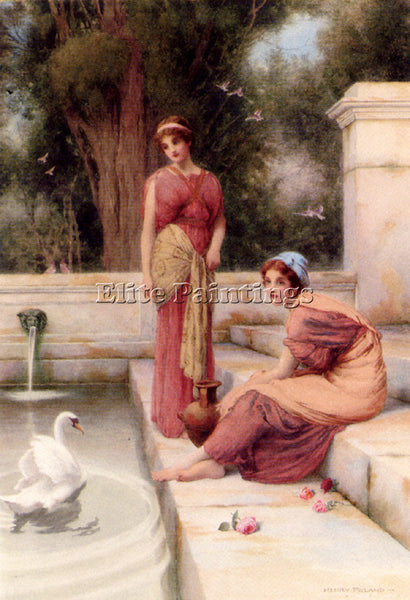 HENRY RYLAND TWO CLASSICAL MAIDENS AND A SWAN ARTIST PAINTING REPRODUCTION OIL
