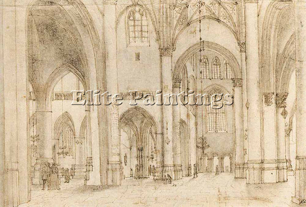 PIETER JANSZ SAENREDAM INTERIOR OF ST BAVOS CHURCH IN HAARLEM PAINTING HANDMADE