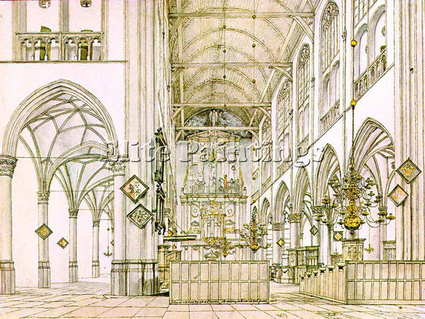 PIETER JANSZ SAENREDAM INTERIOR OF THE CHURCH IN ALKMAAR ARTIST PAINTING CANVAS