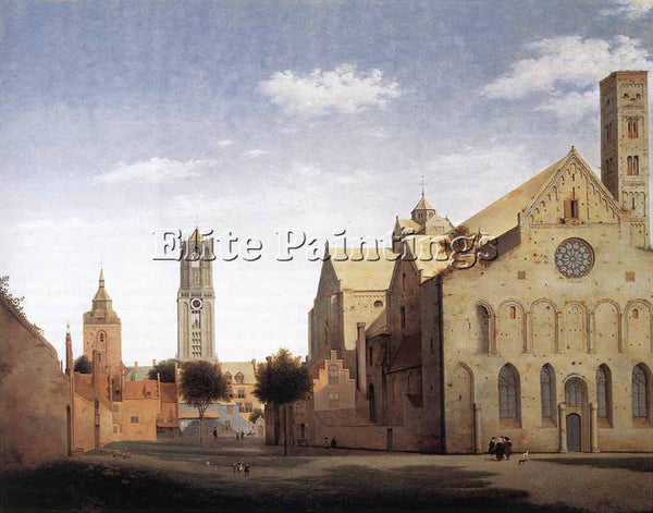 PIETER JANSZ SAENREDAM ST MARYS SQUARE AND ST MARYS CHURCH AT UTRECHT ARTIST OIL