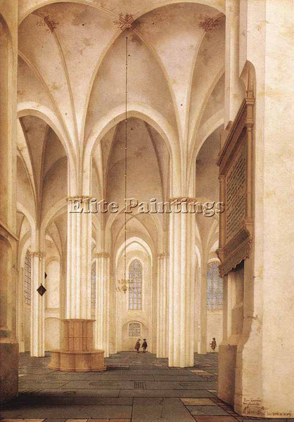 PIETER JANSZ SAENREDAM THE BUURKERK AT UTRECHT 1654 ARTIST PAINTING REPRODUCTION