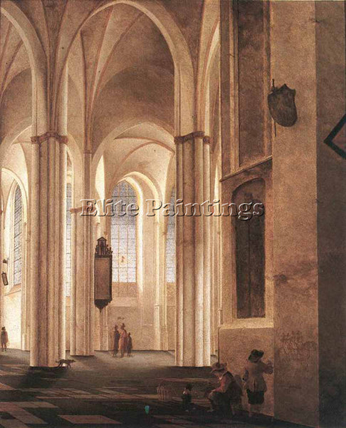 PIETER JANSZ SAENREDAM THE INTERIOR OF THE BUURKERK AT UTRCHT PAINTING HANDMADE