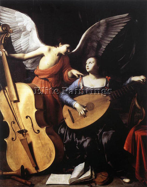 CARLO SARACENI SAINT CECILIA AND THE ANGEL ARTIST PAINTING REPRODUCTION HANDMADE