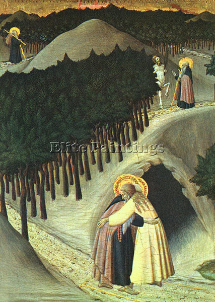 SASSETTA  THE MEETING OF ST ANTHONY AND ST PAUL ARTIST PAINTING REPRODUCTION OIL