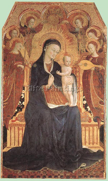 SASSETTA  VIRGIN AND CHILD ADORED BY SIX ANGELS ARTIST PAINTING REPRODUCTION OIL