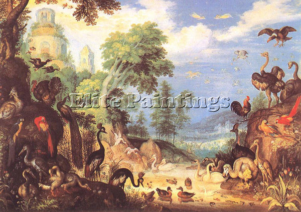 ROELANDT JACOBSZ SAVERY LANDSCAPE WITH BIRDS ARTIST PAINTING HANDMADE OIL CANVAS