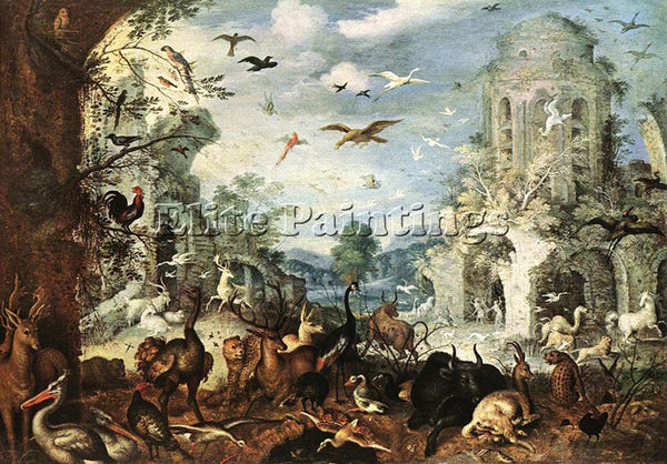 ROELANDT JACOBSZ SAVERY LANDSCAPES WITH WILD BEASTS ARTIST PAINTING REPRODUCTION