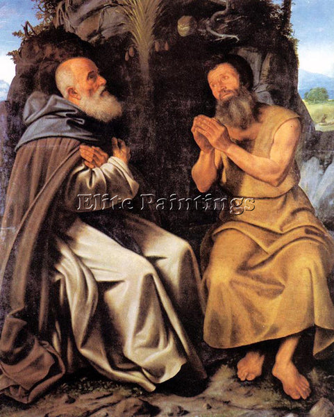 GIOVANNI GIROLAMO SAVOLDO ST ANTHONY ABBOT AND ST PAUL ARTIST PAINTING HANDMADE