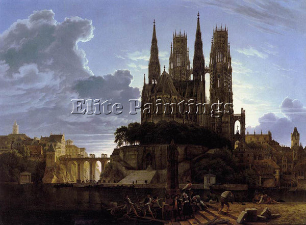 KARL FRIEDRICH SCHINKEL MEDIEVAL TOWN BY WATER ARTIST PAINTING REPRODUCTION OIL