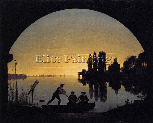 KARL FRIEDRICH SCHINKEL THE BANKS OF THE SPREE NEAR STRALAU ARTIST PAINTING OIL