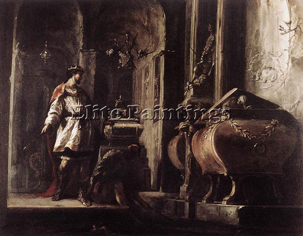 JOHANN HEINRICH SCHONFELD ALEXANDER GREAT BEFORE TOMB OF ACHILLES ARTIST CANVAS