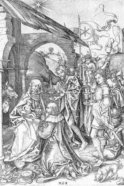 MARTIN SCHONGAUER ADORATION OF THE MAGI ARTIST PAINTING REPRODUCTION HANDMADE