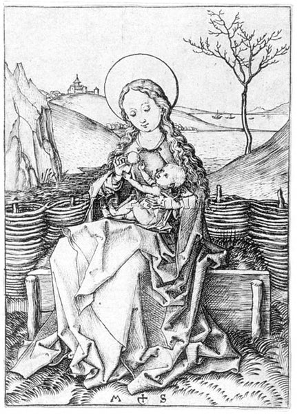 MARTIN SCHONGAUER MADONNA ON THE TURF BENCH ARTIST PAINTING HANDMADE OIL CANVAS