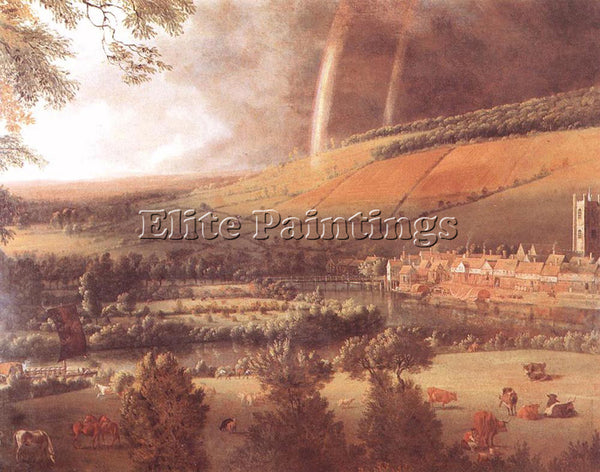 JAN SIBERECHTS LANDSCAPE WITH RAINBOW HENLEY ON THAMES ARTIST PAINTING HANDMADE