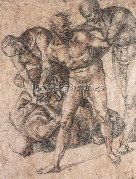 LUCA SIGNORELLI STUDY OF NUDES ARTIST PAINTING REPRODUCTION HANDMADE OIL CANVAS