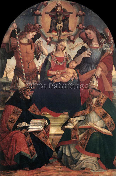 LUCA SIGNORELLI THE TRINITY THE VIRGIN AND TWO SAINTS ARTIST PAINTING HANDMADE