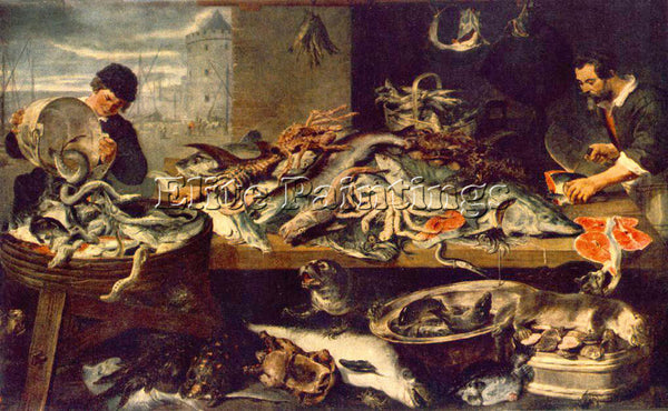 FRANS SNYDERS FISH SHOP 1 ARTIST PAINTING REPRODUCTION HANDMADE OIL CANVAS REPRO
