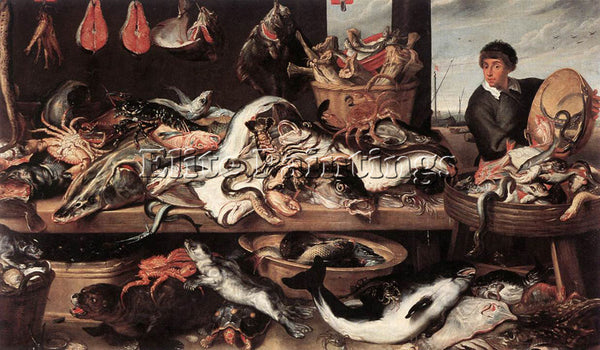 FRANS SNYDERS FISHMONGERS ARTIST PAINTING REPRODUCTION HANDMADE OIL CANVAS REPRO
