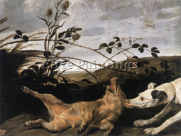 FRANS SNYDERS GREYHOUND CATCHING A YOUNG WILD BOAR ARTIST PAINTING REPRODUCTION