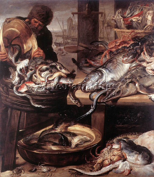 FRANS SNYDERS FISHMONGER ARTIST PAINTING REPRODUCTION HANDMADE CANVAS REPRO WALL