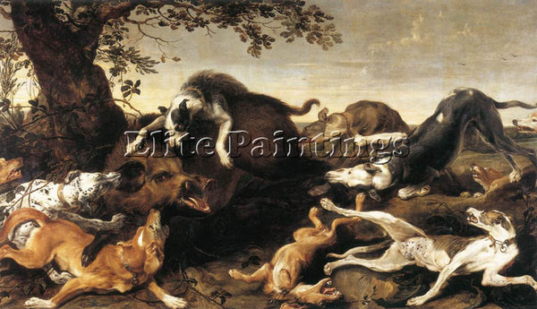 FRANS SNYDERS WILD BOAR HUNT 1 ARTIST PAINTING REPRODUCTION HANDMADE OIL CANVAS