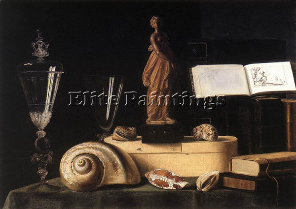 SEBASTIEN STOSKOPFF STILL LIFE WITH STATUETTE AND SHELLS ARTIST PAINTING CANVAS