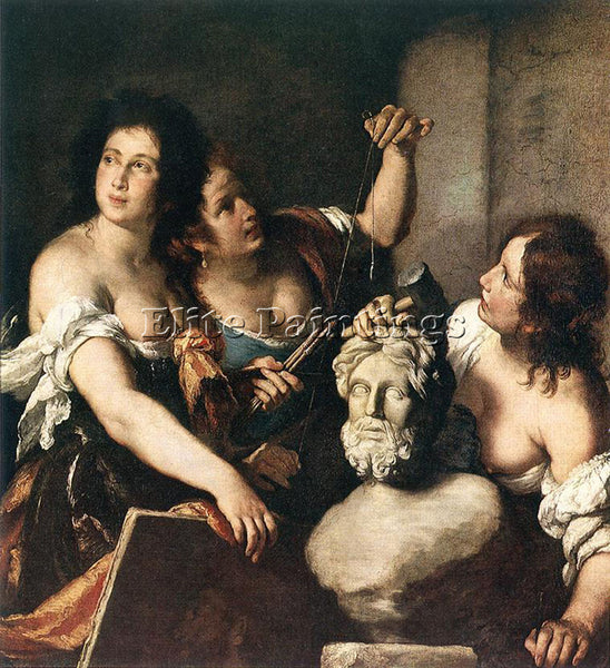 STROZZI BERNARDO ALLEGORY OF ARTS ARTIST PAINTING REPRODUCTION HANDMADE OIL DECO