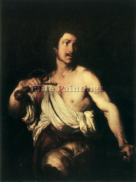 STROZZI BERNARDO DAVID WITH THE HEAD OF GOLIATH ARTIST PAINTING REPRODUCTION OIL