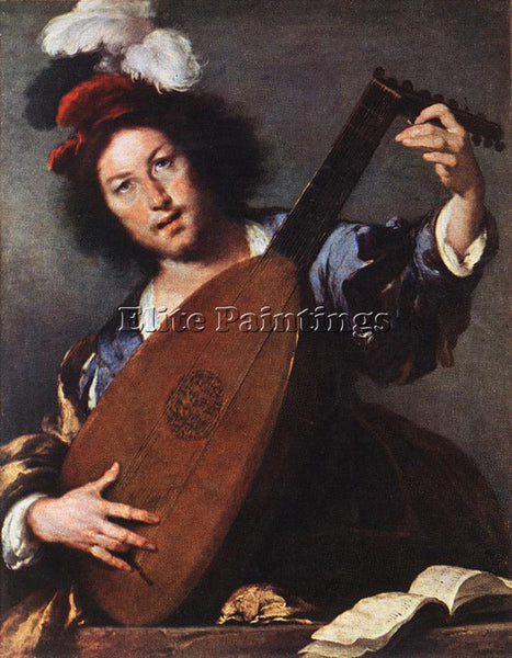 STROZZI BERNARDO LUTE PLAYER ARTIST PAINTING REPRODUCTION HANDMADE CANVAS REPRO